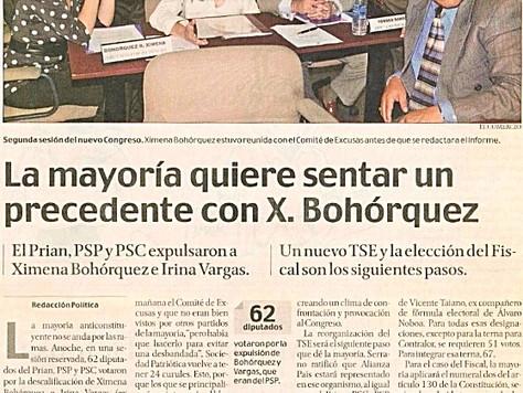 La mayoría quiere sentar un precedente con X. Bohórquez.