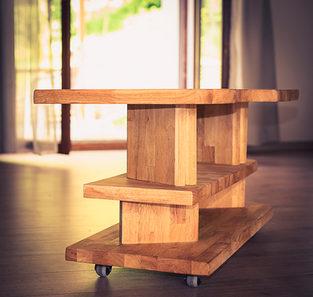 Naturabois.be | table de salon à roulettes en hévéa (bois exotique)