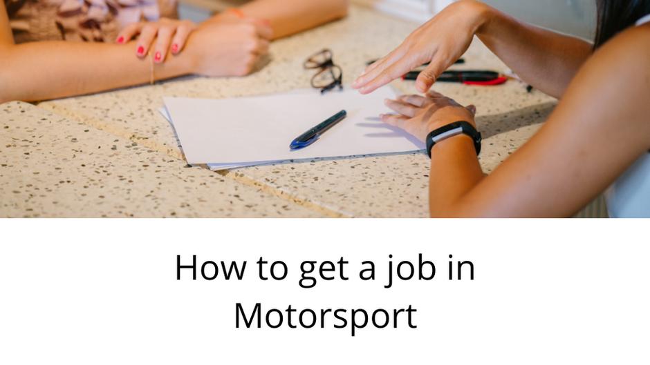 How to get a job in Motorsport