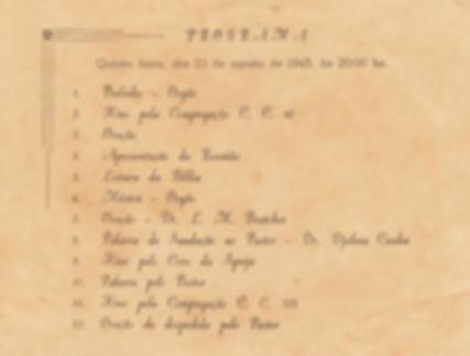 Culto de Ação de Graças em 23 de agosto 1945