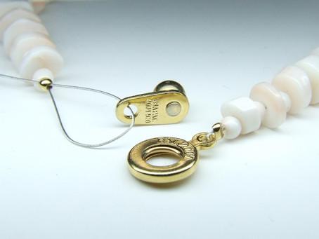 白珊瑚ブレスレットの金具交換