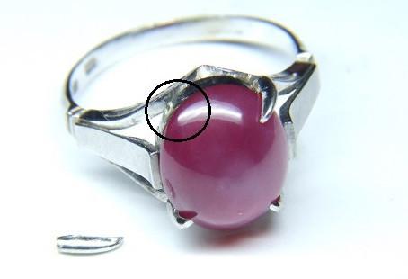 指輪 石留め、爪立て修理