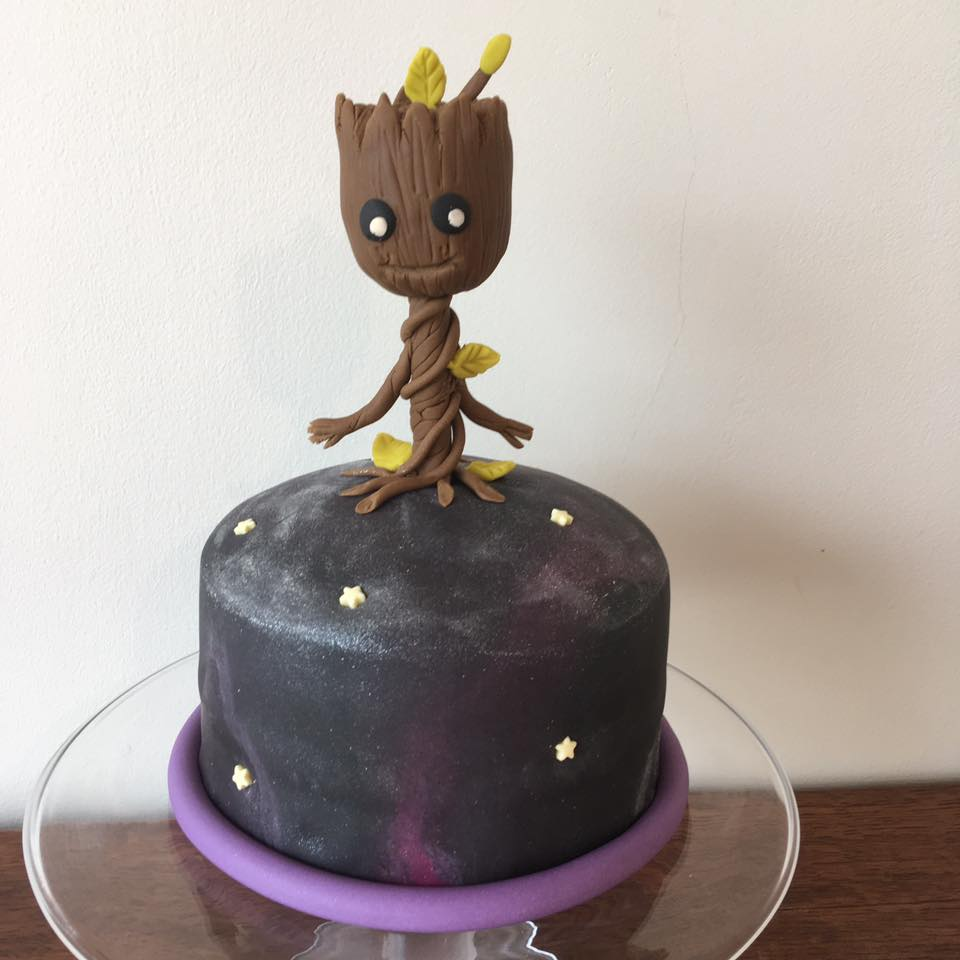 Baby Groot Galaxy Cake