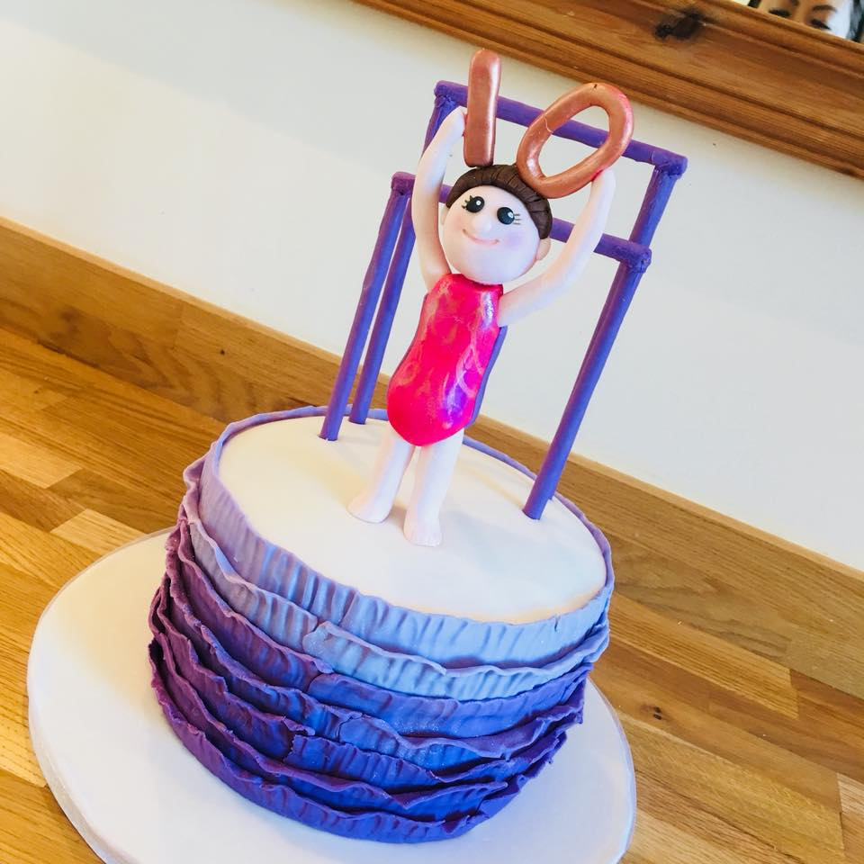 Gymnast-Themed Rainbow Cake