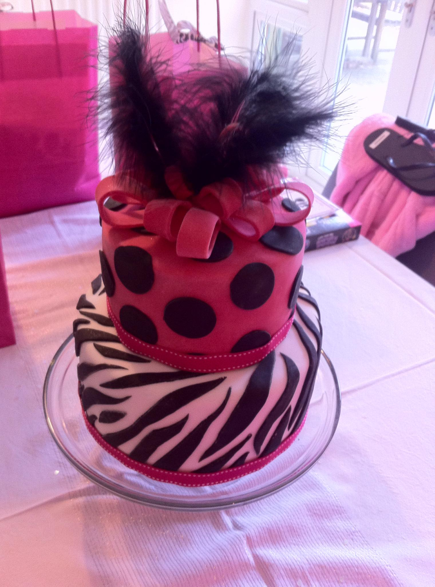 Polka Dot and Zebra Stripe Cake