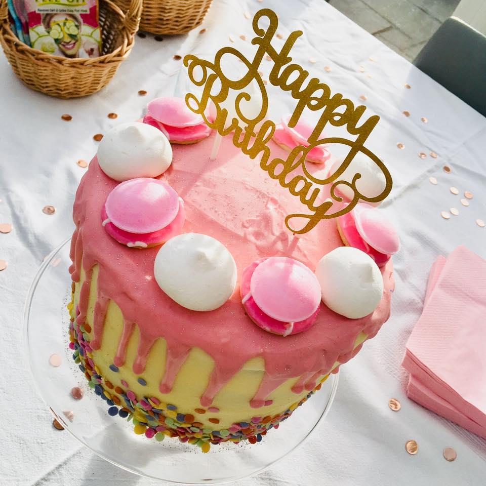 Pink Confetti Drip Cake