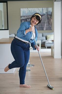 Cheerful overweigth woman having fun swe