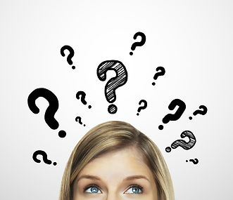 thinking women with question mark on whi