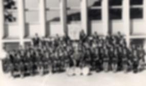 Landås skoles musikkorps 1960. Fremdeles har ikke alle fått uniformene sine