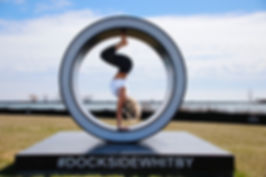 Yoga at Dockside Whitby in summer months.