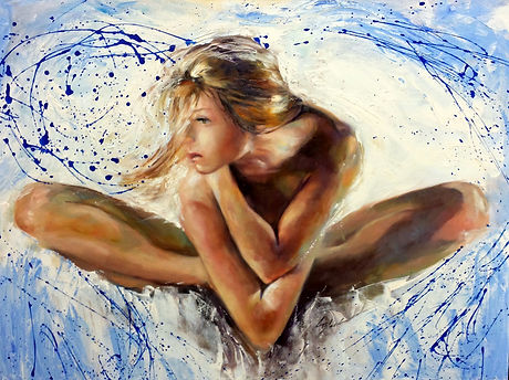 Infinite dreamer with Splashes of Blue 30x40