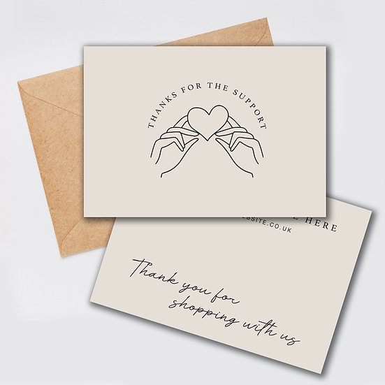 Thank You Card Design: Thanks For The Support Single Sided Cards