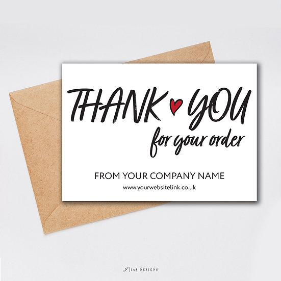 Thank You Card Design: Thank You For Your Order Single Sided Cards