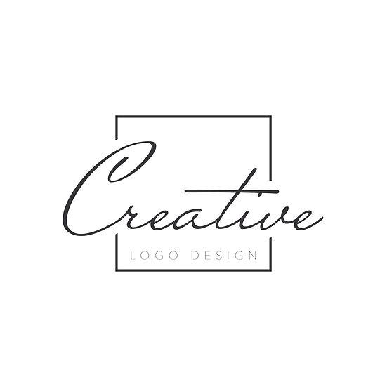 Logo Design: Creative Script Font Square Border Company Logo