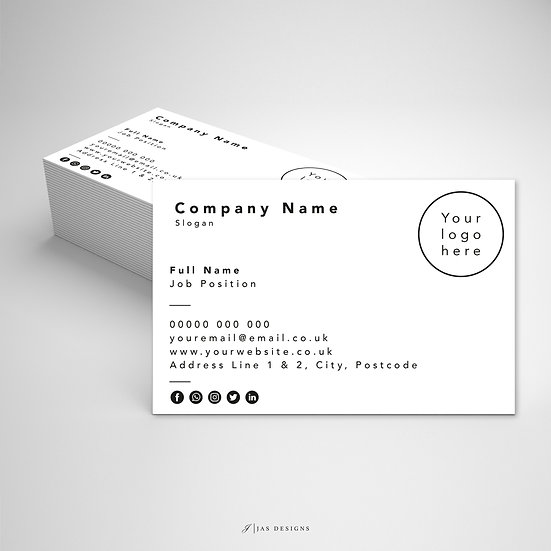 Business Card Design: Blank Single or Double Sided Cards
