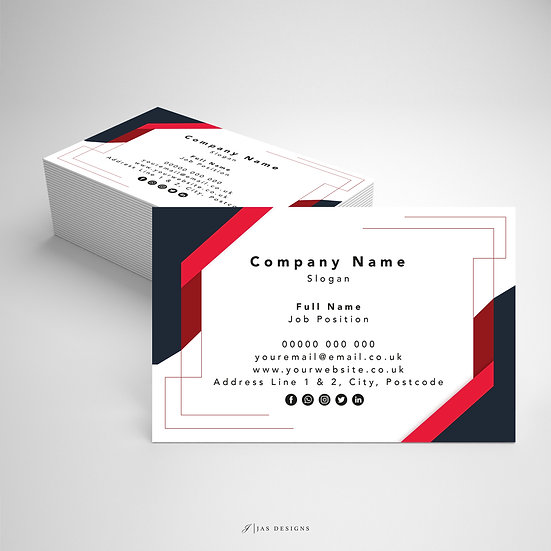 Business Card Design: Geometric Red  & Black Single or Double Sided Cards