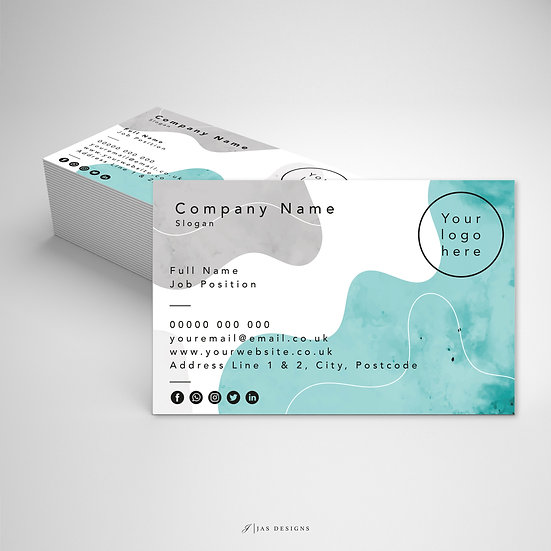 Business Card Design: Watercolour Single or Double Sided Cards