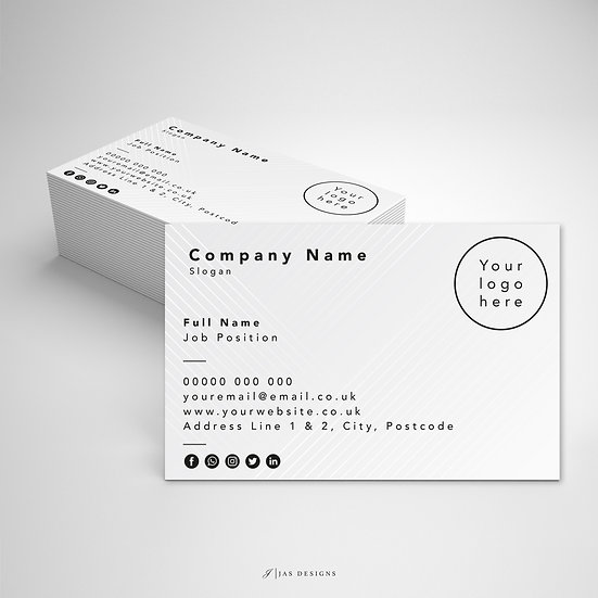 Business Card Design: Geometric Grey Single or Double Sided