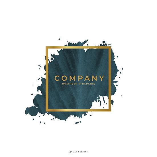 Logo Design: Teal Leaf Background With Gold Frame