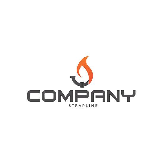 Logo Design: Plumbing Heating Gas Flame Company Logo