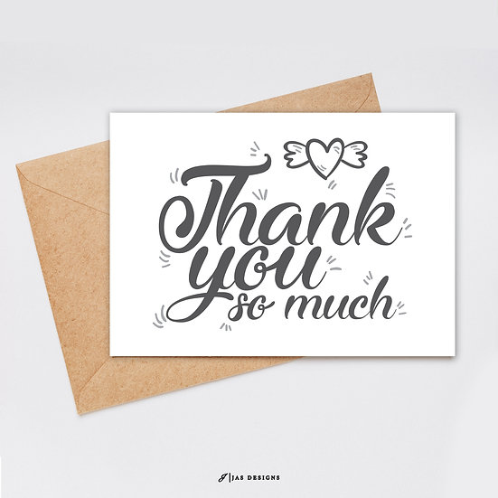 Thank You Card Design: Thank You So Much Single Sided Cards