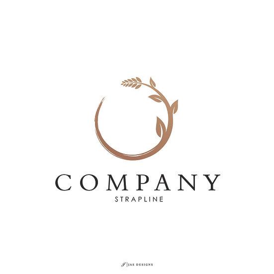 Logo Design: Circle Floral Brushed Company Logo