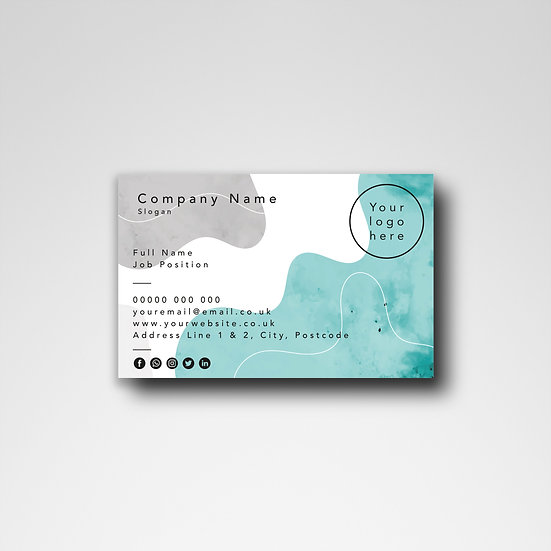 Business Card Design: Watercolour Blue & Gray Template Design