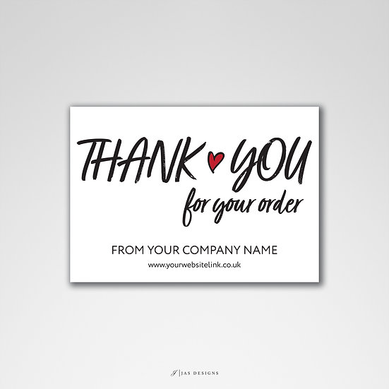 Thank You Card Design: Thank You For Your Order Template