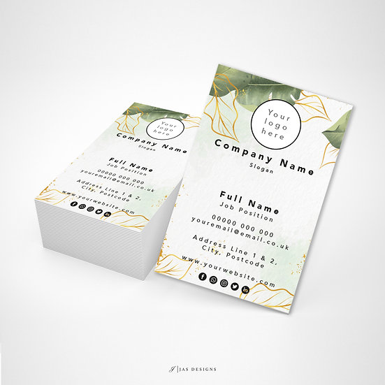 Business Card Design: Green Gold Leaf Single or Double Sided