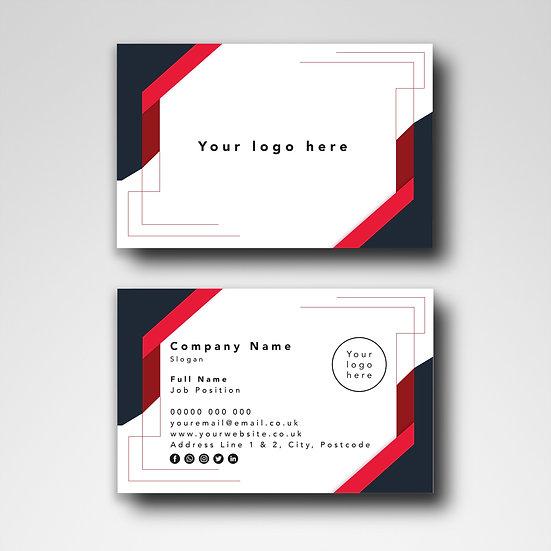 Business Card Design: Geometric Red & Black Template Design