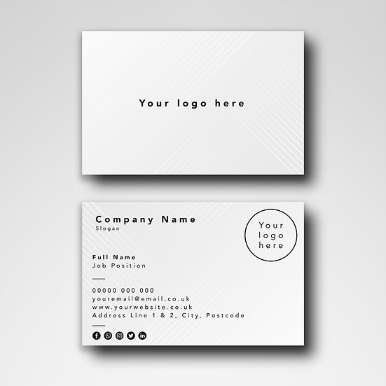 Business Card Design:  Geometric Grey Template Design