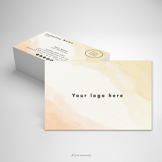 Business Card Design: Yellow Watercolour Single or Double Sided