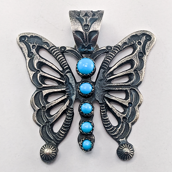 Sand Cast Sterling Silver Pendant with Sleeping Beauty Turquoise - EL Billah