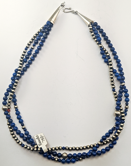 Three Strand Lapis and Silver Beads
