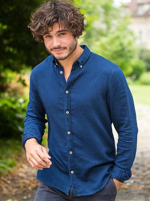 Cuisse de Grenouille indigo chevron shirt with wood buttons