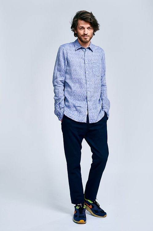 Bellerose blue linen shirt with red, blue and white embroidered shirt