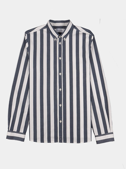 Cuisse de Grenouille Dark Navy and white stripes shirt