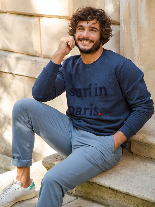 Cuisse de Grenouille Navy Blue Surf In Paris Sweater