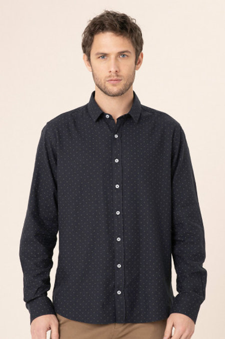 Harris Wilson Navy Shirt with green dots