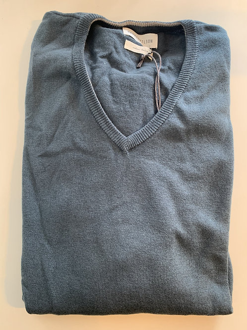 Harris Wilson blue grey cotton and wool v collar pullover