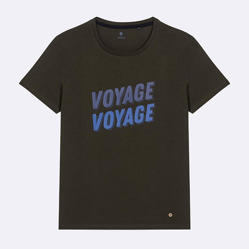 "Faguo "" Voyage voyage"" kaki t shirt"