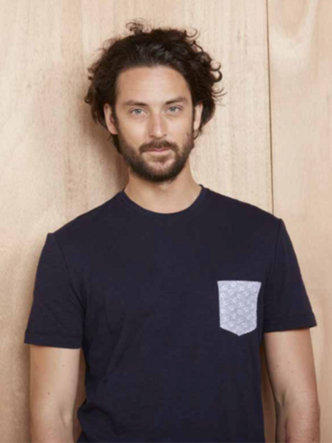 Harris Wilson Dark Navy T shirt with pocket on the chest