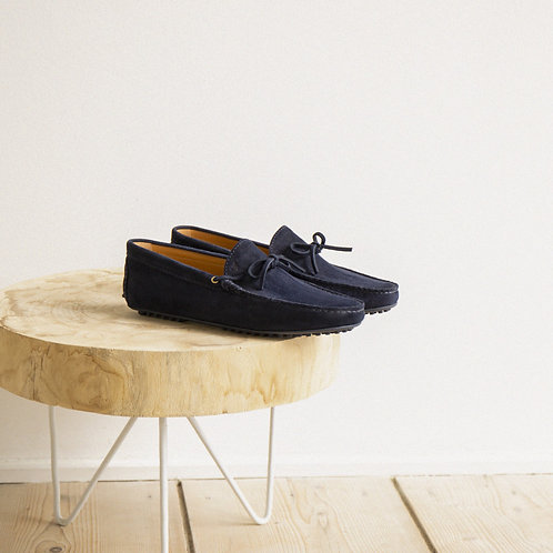 Bobbies Navy Ribbed Suede Loafers