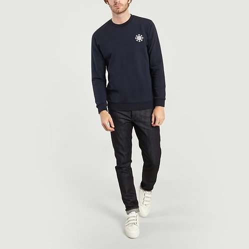 Cuisse de grenouille Dark Navy Sweater with snowflake embroidery