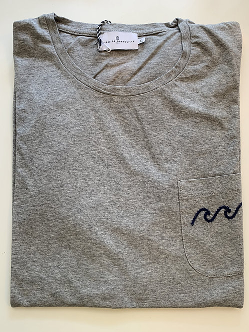 Cuisse de Grenouille Grey T-shirt with blue embroidery