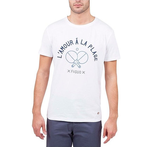 """Faguo white t-shirt """"l'amour a la plage"""""""