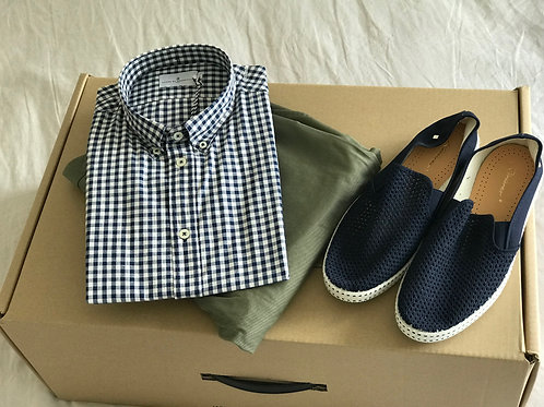 Cuisse de Grenouille Dark Navy and White Checked shirt