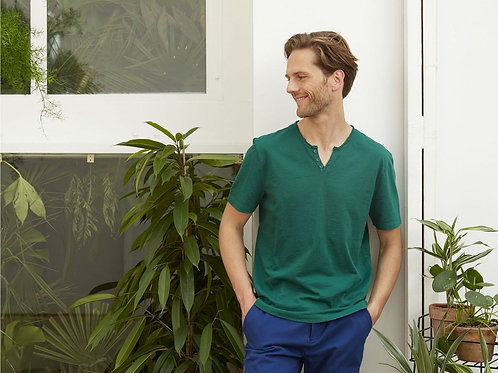 Harris Wilson Tunisian Collar Green Tshirt