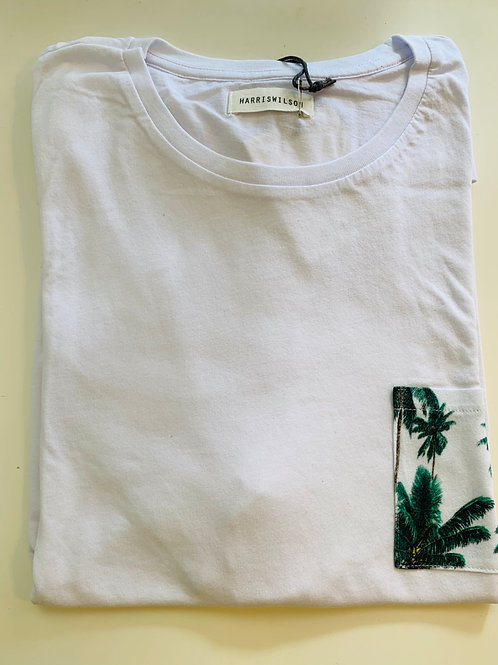 Harris Wilson White T shirt with palm tree pocket on the chest