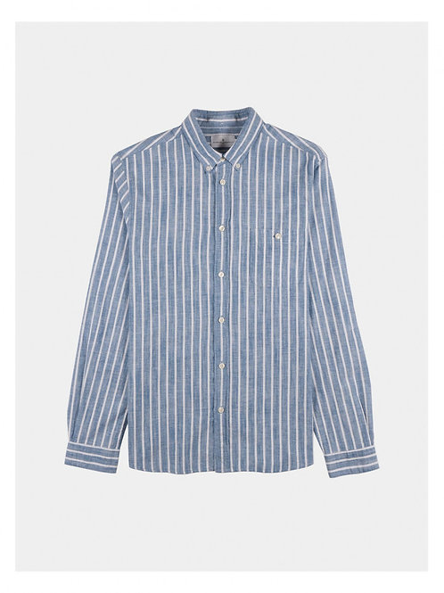 Cotton shirt with white and blue stripes
